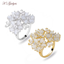 K's Gadgets Adjustable Size Natural Stone  Cubic Zirconia Gold Color Fashion Crystal Ring Flower  Opal Ring For Women Girls Gift