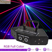 Rgb Full Color 6 Lens Scan Laserlicht/DMX512 Beam Effect Podium Scannen Verlichting/Laser Show Systeem/ bar Disco Laser Podium Verlichting(China)