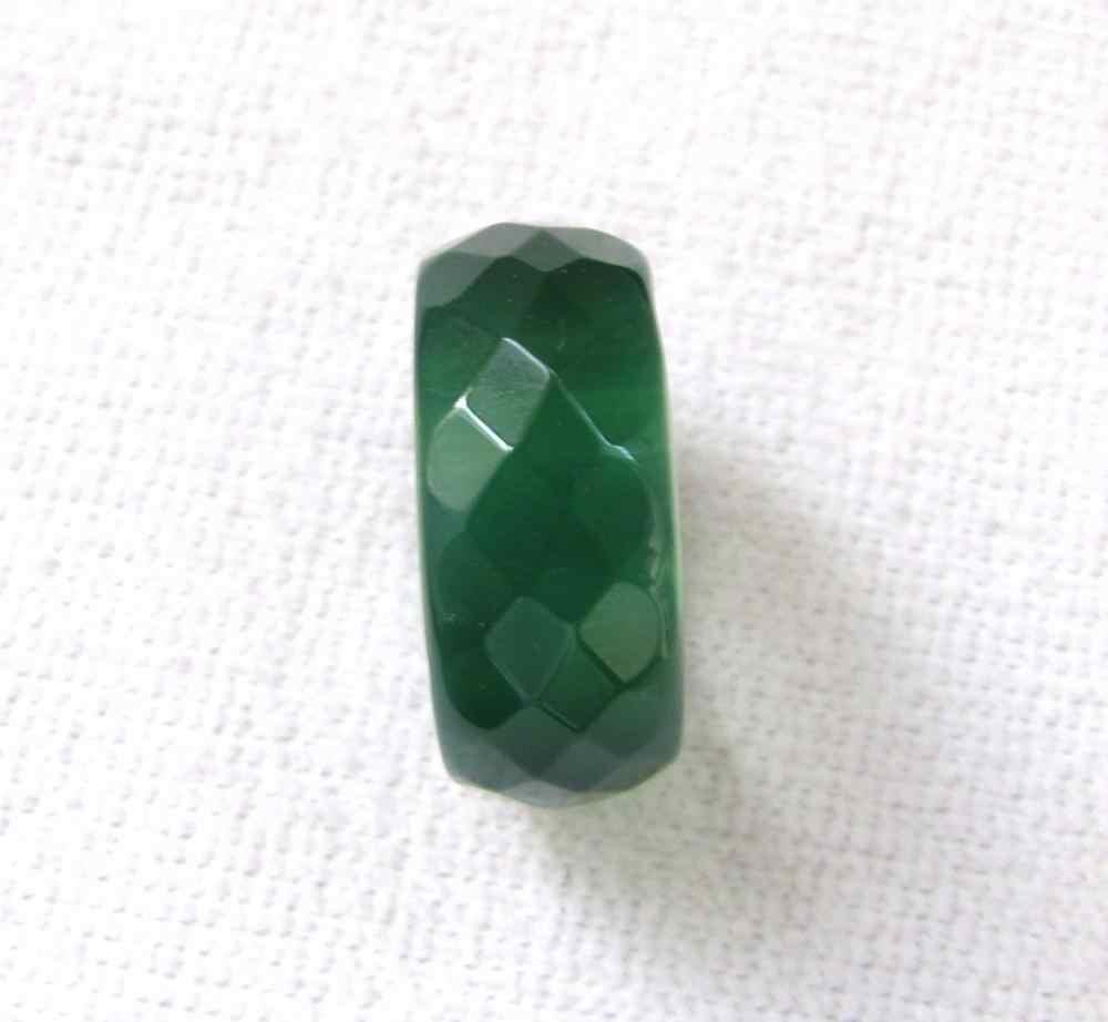 DYYใหม่ขายร้อนธรรมชาติสีเขียวหยกนิลมือแกะสลักแหวนวงขนาด9.5-10.5 #