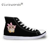 ELVISWORDS נעלי בד שחורות נשים קריקטורה בעלי החיים ינשוף עניבת פרפר ורוד נשי בנות מזדמנים גבוה למעלה נעלי לגפר נעלי זוג