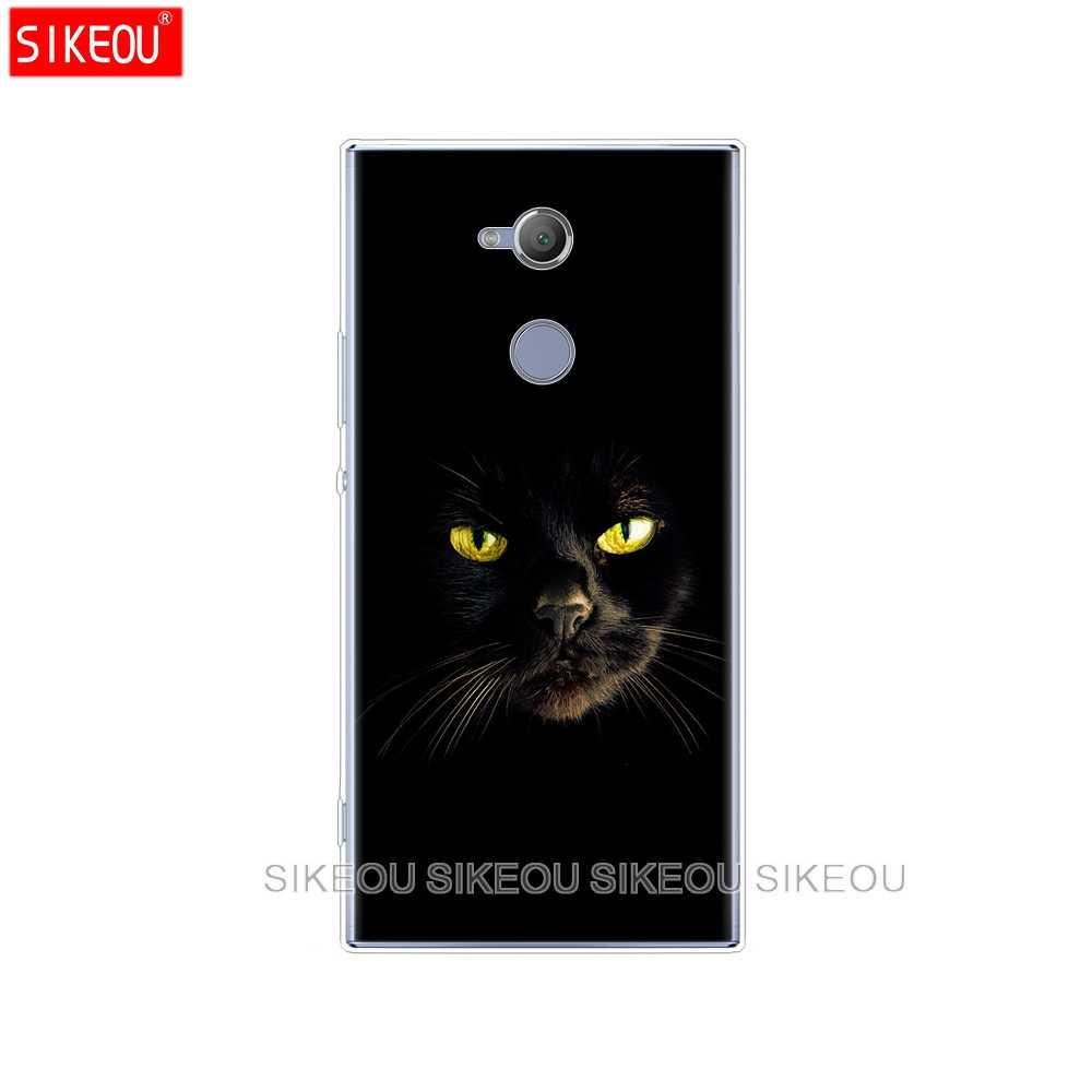 Pokrowiec na telefon silikonowy do sony xperia XA1 XA2 ULTRA PLUS L1 L2 XZ1 XZ2 kompaktowy XZ PREMIUM czarny kot wpatrujący się w oko