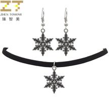 2017 Zhen Tomomi Hot Trendy Fashion Vintage Snowflake Choker Necklace/drop Earrings Jewelry Sets Party For Women Wholesale