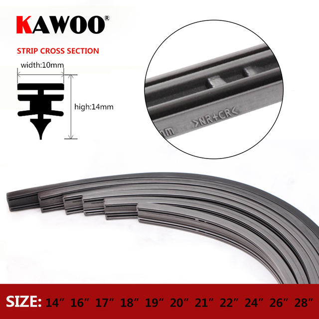"KAWOO 1 pcs Tiras de lâmina de limpeza Do Carro Veículo Tira de Borracha de Inserção 14 ""16"" 17 ""18"" 19 ""20"" 21 ""22"" 24 ""26"" 28 ""10mm Acessórios Automotivos"
