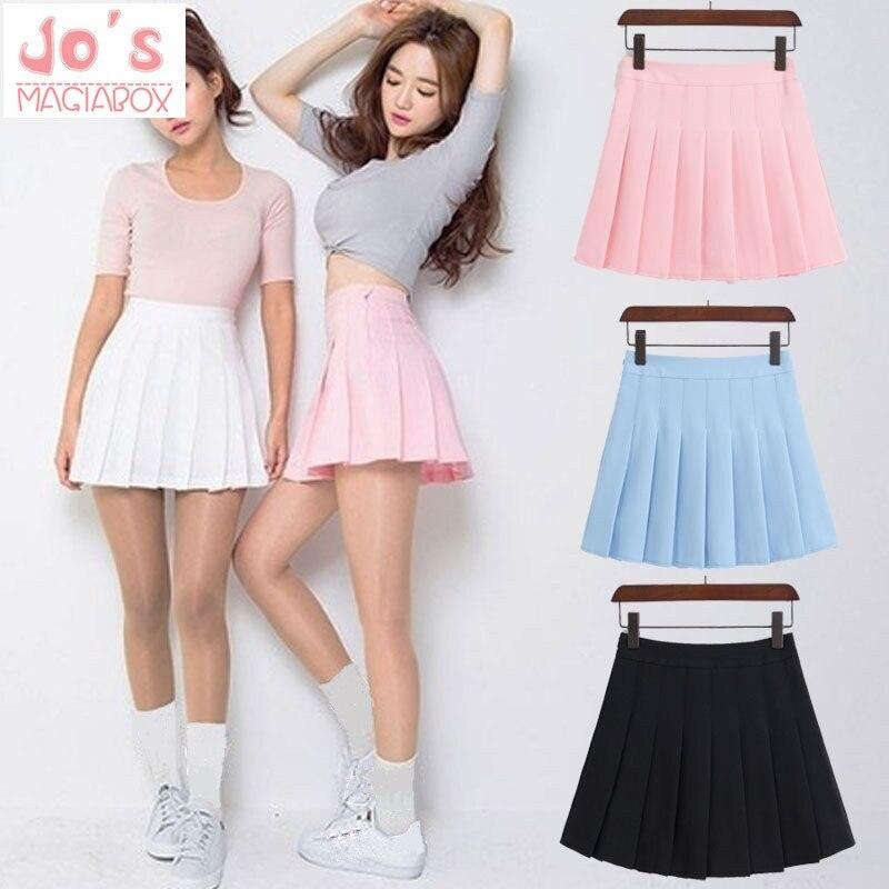 2018 nova primavera de cintura alta bola saias plissadas harajuku saias denim sólido a linha saia marinheiro plus size uniforme escolar japonês