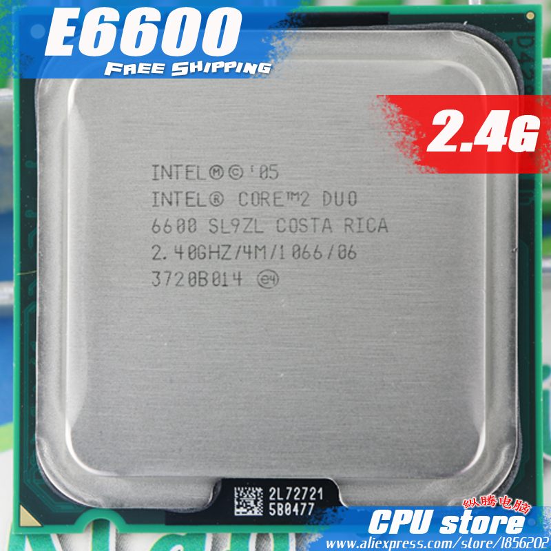 Intel Core 2 Duo E6600 CPU 2.4G Processor ( 2.4Ghz / 4M /1066GHz) Socket 775 free shipping-in ...