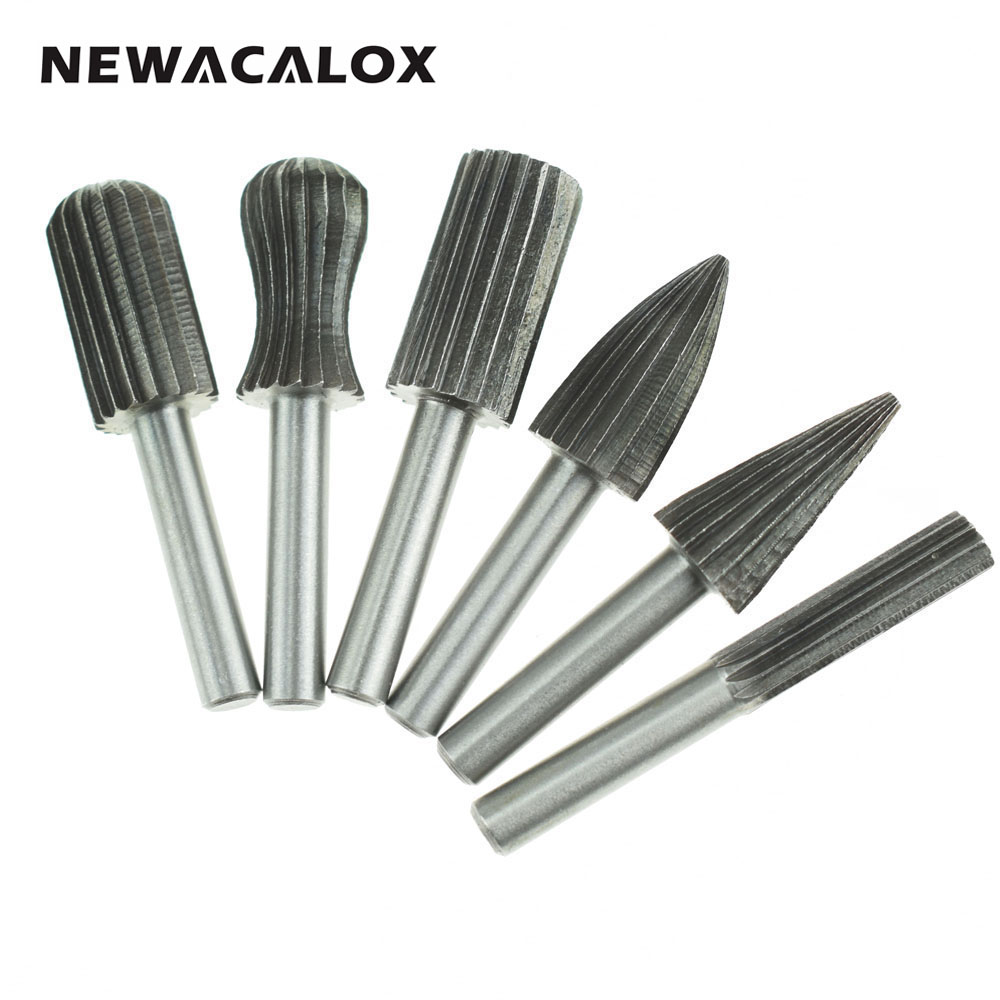 NEWACALOX 6pcs Woodworking Wood Drill Bit Set High-speed Milling Cutter Carving Tools Dremel HSS Rotary Woodcarving Tool Micro 10pcs mini drill hss bit set for dremel rotary tool electric tools high speed white twist