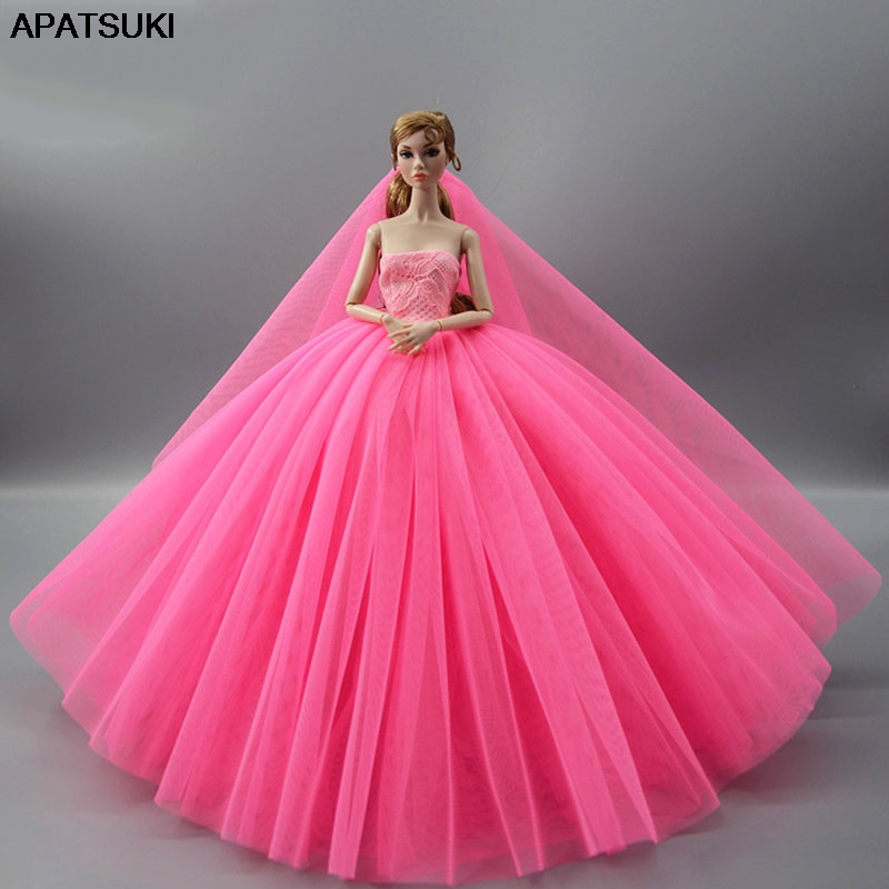 Hot Pink Doll Dress For Barbie Doll Clothes High Quality Evening Gown Outfits Wedding Dresses +Veil 1/6 Doll Accessories