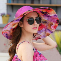 2017 Fashion Design Flower Foldable Brimmed Sun Hat Summer Hats For Women Outdoor UV Protection Large
