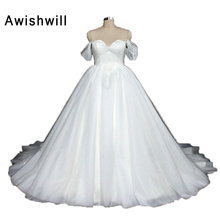 Real Picture Off The Shoulder White Wedding Dress Ball Gown Tulle Lace-up Back Princess Vintage Bridal Dress Robe De Mariage