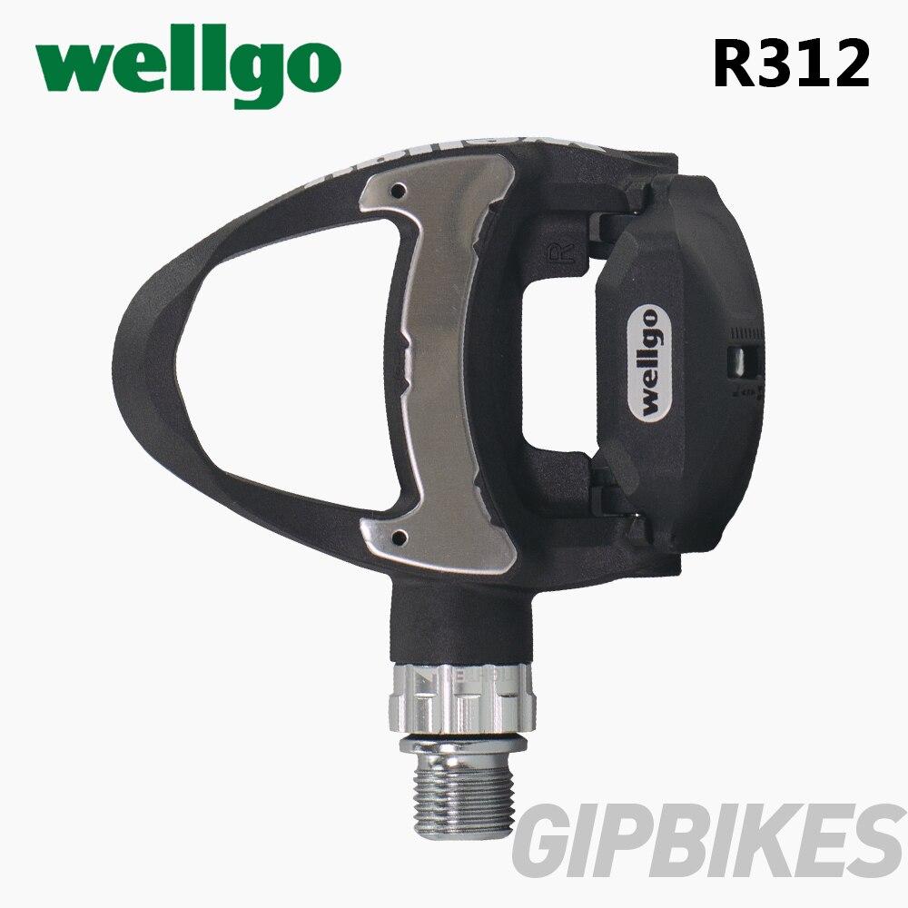 Pédales de vélo de route en carbone Ultra-léger Wellgo R312 249g avec 3 roulements compatibles keo avec deux paires de crampons