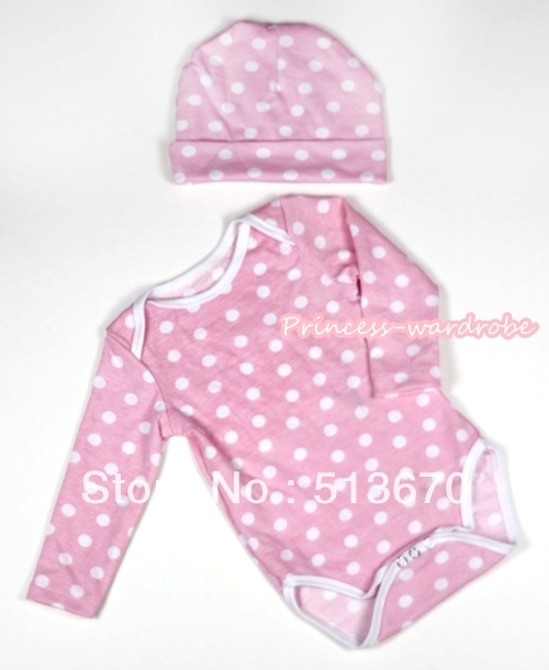 Light Pink White Polka Dots Long Sleeve Baby Onesie Jumpsuit with Cap Set MALH271
