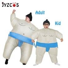 JYZCOS şişme Sumo kostüm cadılar bayramı kostüm yetişkin çocuk için Purim karnaval noel Cosplay Fan kumandalı Sumo güreşçi takım elbise