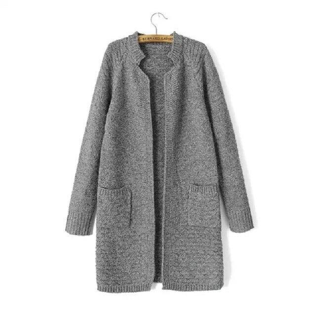 Мода Кардиган женский Корейский стиль стоять воротник рукав реглан зима теплая свитер SW2296
