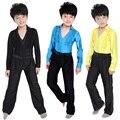Meninos Set Crianças Roupa Performance de Palco Trajes Rumba Dancewear Latina Moderna Dança De Salão Terno
