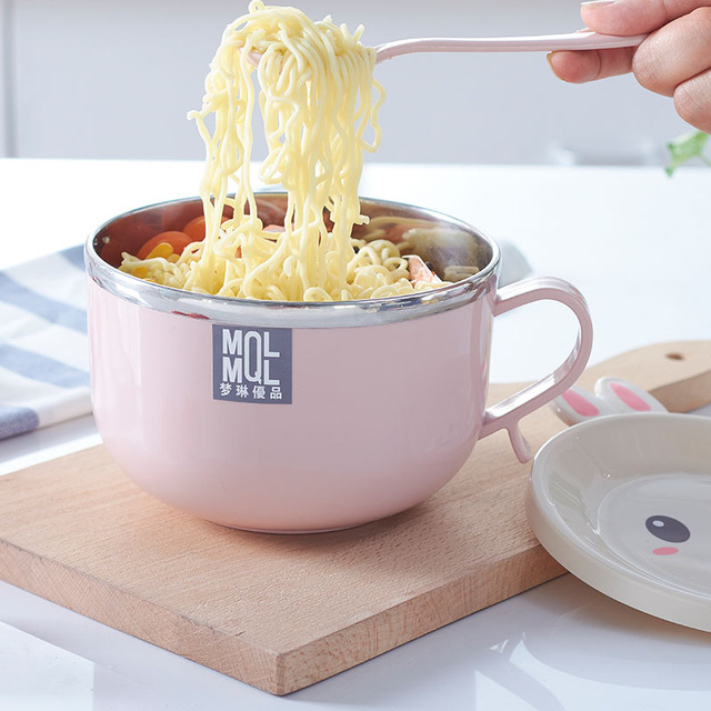 Instant Noodles Bowls 201 Stainless Steel With Cover Handle Round Children  Rabbit Rice Bowl Eco