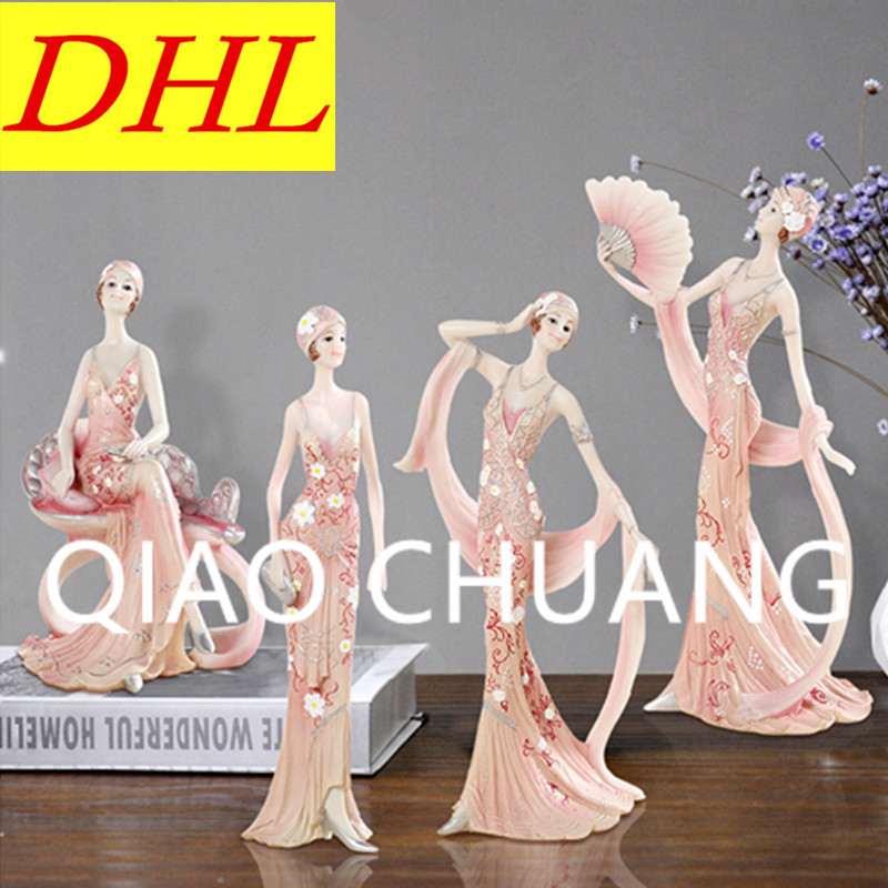 Creative European Style Beauty Girl Elegant Ladies Resin Craftwork TV Bench Furnishing Articles G1298