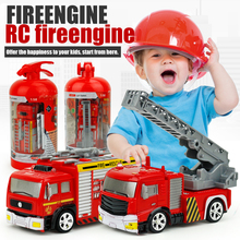 Shenqiwei  8027 Mini 4CH Fire engine Ladder Truck 1:58 RC Truck Toy w/ Fire Extinguisher Case + 4pcs Barricade Mini Car for Kids