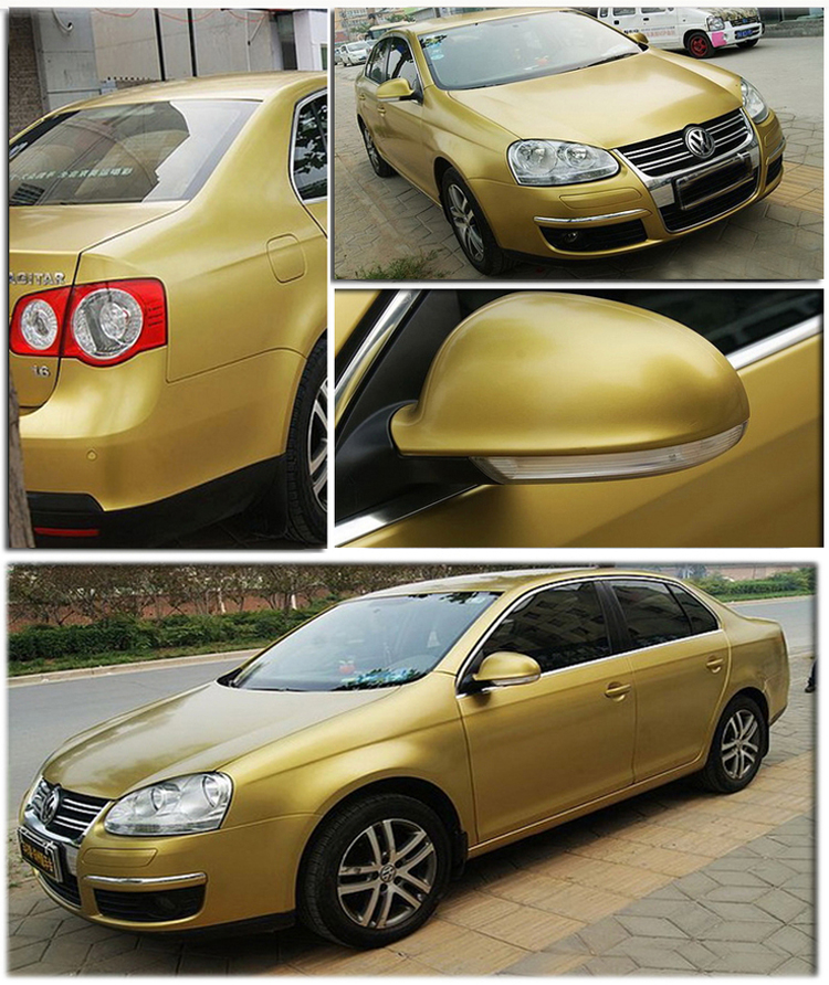 Image 2 - Gold Matte Vinyl Wrap Satin Matt  Foil Car Wrap Film Vehicle decoration vinyl  with different size ca Sticker-in Car Stickers from Automobiles & Motorcycles