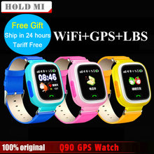 Free Shipping Q90 GPS Phone Positioning Fashion Children Watch 1.22Inch Color Touch Screen WIFI SOS Smart Watch Baby Q80 Q50 Q60