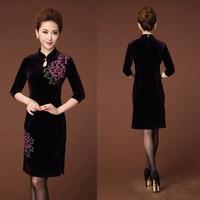 European New Product Suit-dress Printing Velvet Sexy Women Dress Long Sleeve Round Neck A Word In Skirt Robe Femme Cheongsam