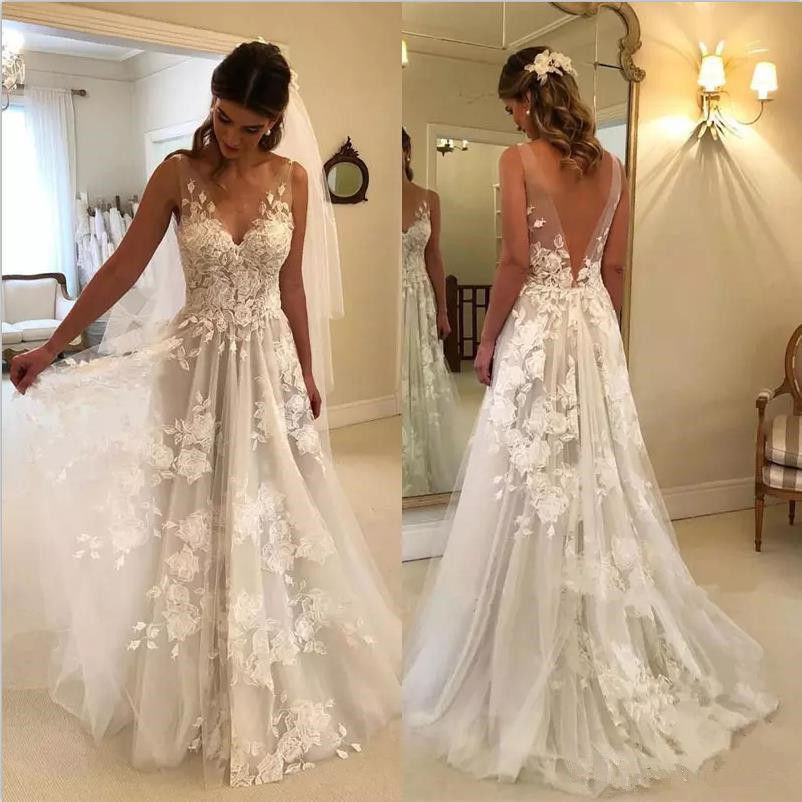 Plage Robe De Noiva 2018 Robes De mariée A-ligne V-cou Tulle Dentelle Dos Nu Dubaï Arabe Boho Robe De Mariée Robes De Mariée
