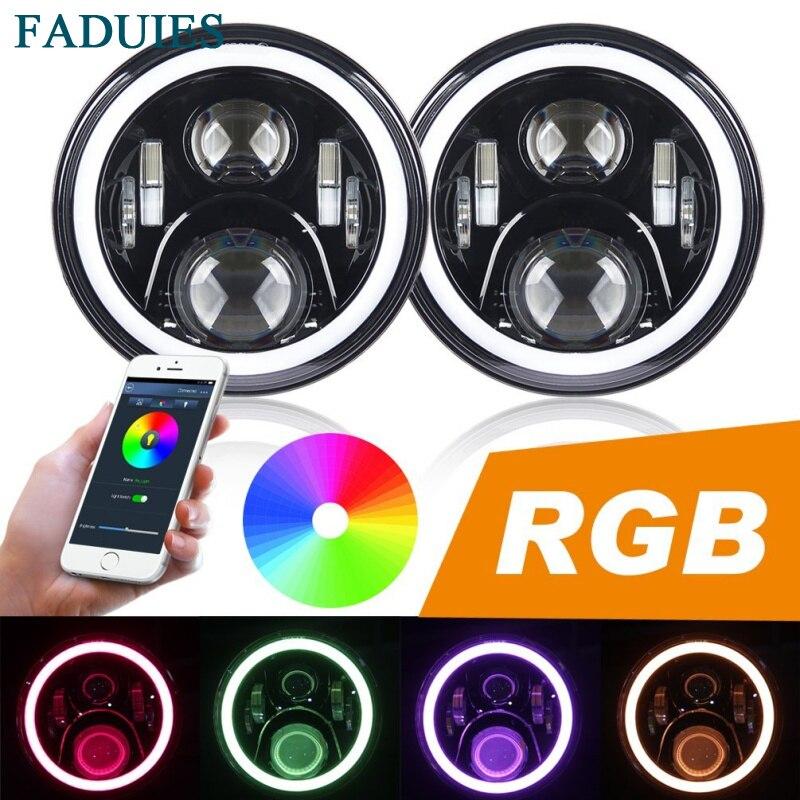FADUIES 7&#8243; 60W LED Headlight RGB Halo Angel Eye With <font><b>Bluetooth</b></font> Remote For 2007~2016 <font><b>Jeep</b></font> Wrangler JK LJ CJ Hummer H1 H2
