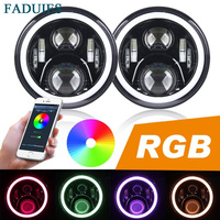 7 60W LED Headlight RGB Halo Angel Eye With Bluetooth Remote For 2007 2016 Jeep Wrangler