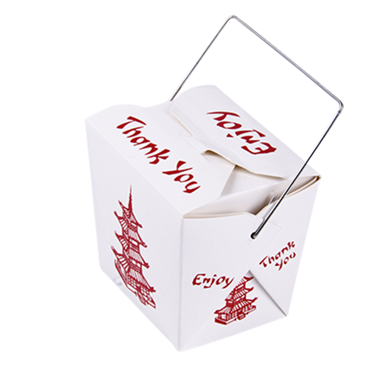 Torre Bermeja Printing 8OZ 16OZ 26OZ White Paper Lunch Box with Handle Pasta Fast Food Disposable