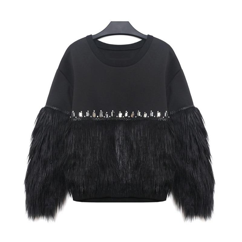 Black Sweater With Animal Fur Cuffs: Retro Pearl Sweater Faux Fur Embellished Cuff Jumper Black
