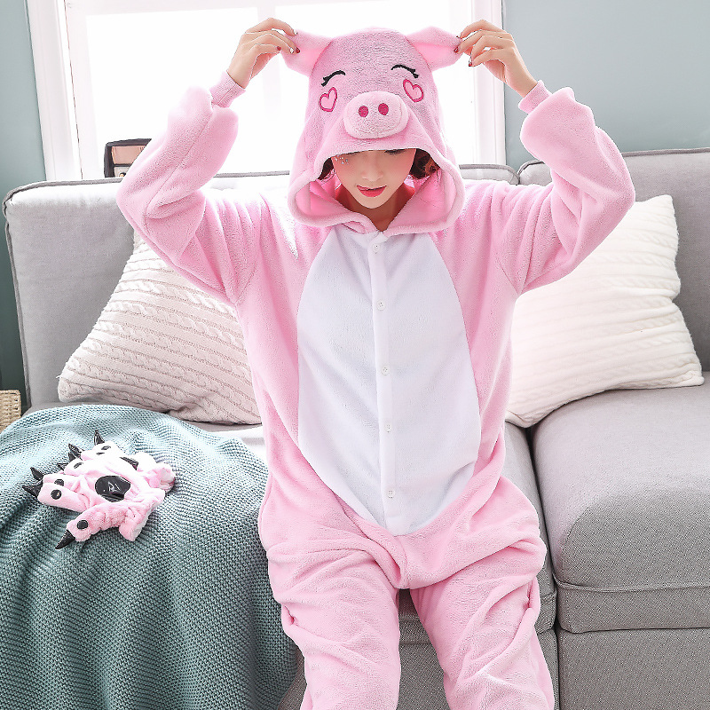 Cute Pink Pig Women Pajamas Onesies For Night-suit Set At Home Party Adult Kigurumi For Halloween Cosplay Siamese Costume   (3)