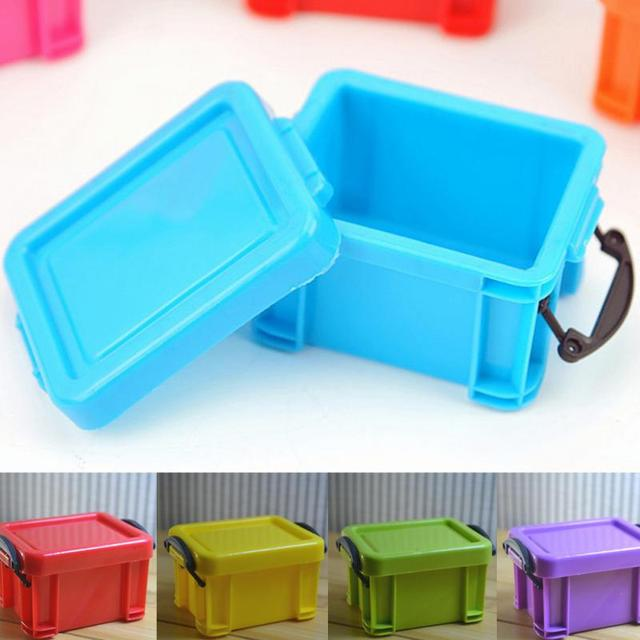 Candy Color Double Buckles Design Practical Storage Box Case Small Size  Home Office Sundries Plastic Container