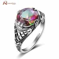 100 Real Pure 925 Sterling Silver Ring For Mens Women With Mystic Rainbow Topaz Genuine Fine