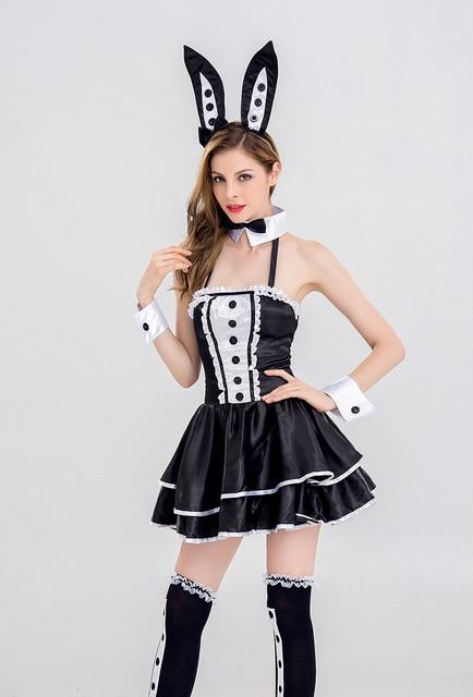 405911cb2d7 Sexy Black Bunny Costume Rabbit Girl Corset Romper Bodysuit Halloween  Cosplay Fancy Dress Jumpsuit Nightclub Rabbit