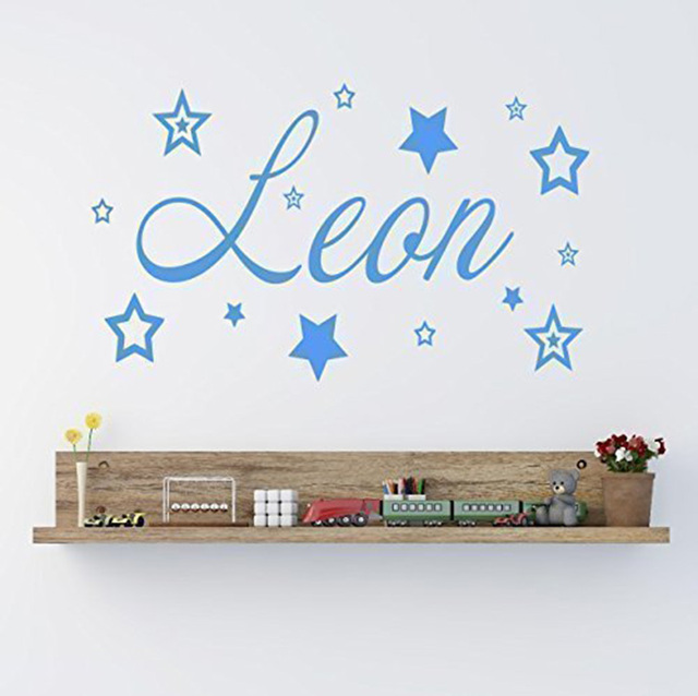 custom name wall decals personalised name with stars vinyl wall art