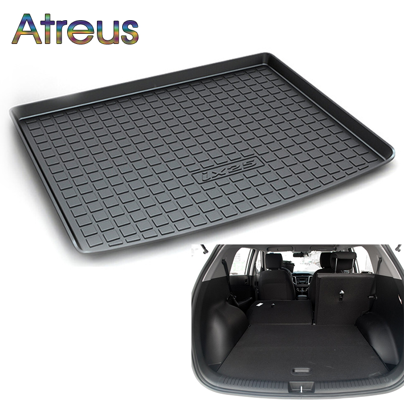 Atreus Car Rear Trunk Floor Mat Durable Carpet For Hyundai ix25 Creta 2015 2016 2017 Boot Liner Tray Waterproof Anti-slip mat atreus anti slip car rear trunk floor mat durable carpet for hyundai ix35 creta ix25 santa fe sonata elantra tucson 2018 2017