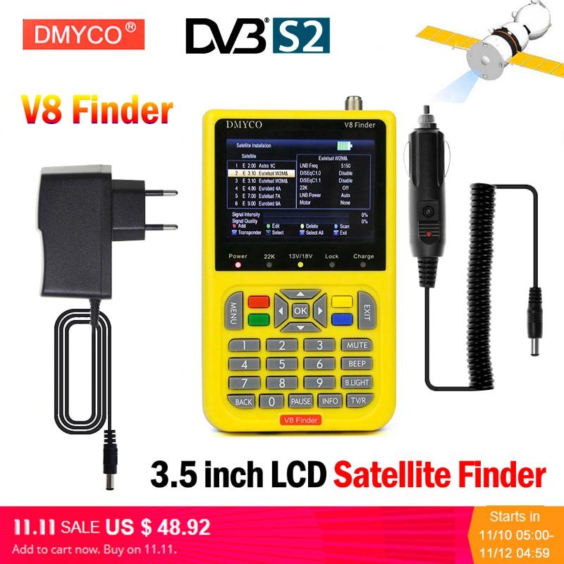 DMYCO V8 Finder Digital TV SatFinder DVB-S2 FTA Satellite Finder Meter With LCD Screen Display HD MPEG4 DVB-S/S2 Satelite Finder satlink ws 6979se satellite finder meter 4 3 inch display screen dvb s s2 dvb t2 mpeg4 hd combo ws6979 satfinder