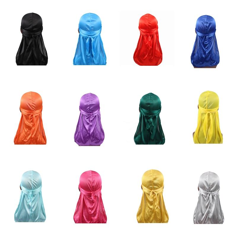 Unisex Men Women Silk Durag Super Soft Bandanas Long Tail Do Du Rags Turban Hat Hair Cover Waves Cap Durag Silky