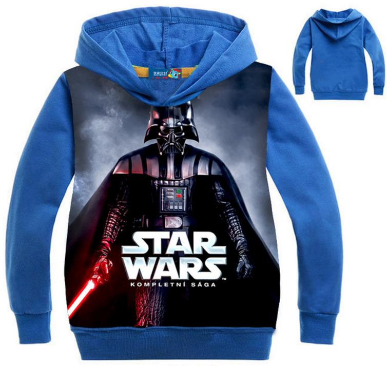 2019 Autumn Outwear Children's Hoodies For Baby Boys Star Wars Sweatshirt Blue Sport Hoodies Movie TV Printing Clothes For Kids image