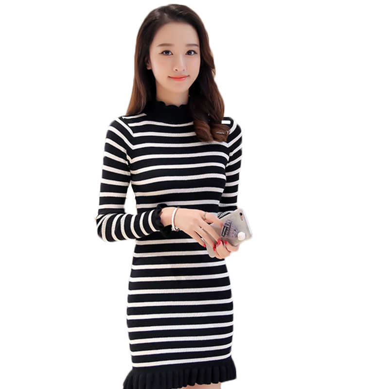 Женский осенне-зимний тонкий свитер с круглым вырезом длинный свитер женский мятый пуловер свитер женский толстый теплый дикий свитер