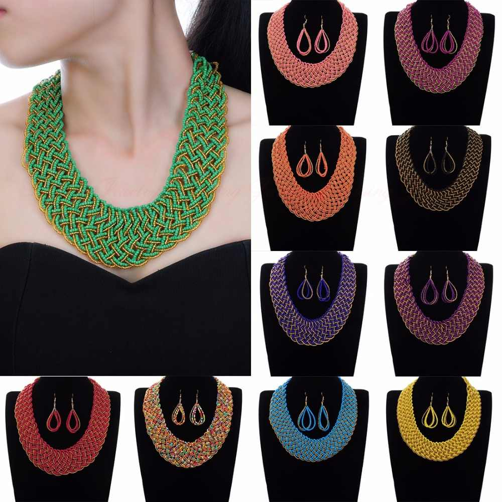 Fashion Gold Chain Resin Seed Beads Choker Pendant Bib Necklace Earrings