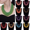 Fashion Gold Chain Resin Seed Beads Choker  Pendant Bib Necklace Earrings