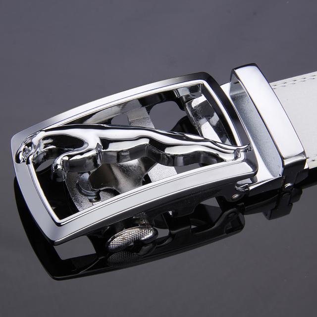 Correias dos homens designer de Leopardo Padrão Animal Branco Moda Cinto de Fivela Automática cinto de Couro Genuíno dos homens cinto Com caixa de Presente