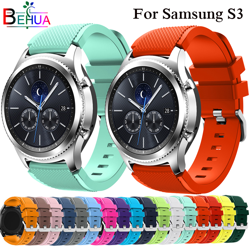 Watchbands 22mm Sport Silicone Strap Band For Samsung Gear S3 Classic Frontier Replacement Band For Huami Amazfit Stratos 2/2SWatchbands 22mm Sport Silicone Strap Band For Samsung Gear S3 Classic Frontier Replacement Band For Huami Amazfit Stratos 2/2S