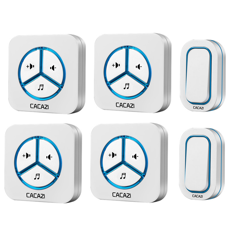 CACAZI doorbell 280M remote AC 110-220V US/EU/UK Plug 2 waterproof buttons+4 receivers Wireless Door bell 48 rings door chime wireless cordless digital doorbell remote door bell chime waterproof eu us uk au plug 110 220v