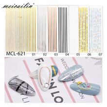 1 Pc Zilver Goud Wit 3D Nail Sticker Metalen Streep Line Nail Stickers Adhesive Strip Tape Nail Art Stickers Decals decoraties