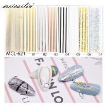 1pc Silver Gold White 3D Nail Sticker Metal Stripe Line Nail Stickers Adhesive Strip Tape Nail Art Stickers Decals Decorations