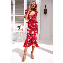 Spring and Summer 2019 New European American Womens Decorated Sleeveless V-neck Leaky Back Printed Fashion Dresses