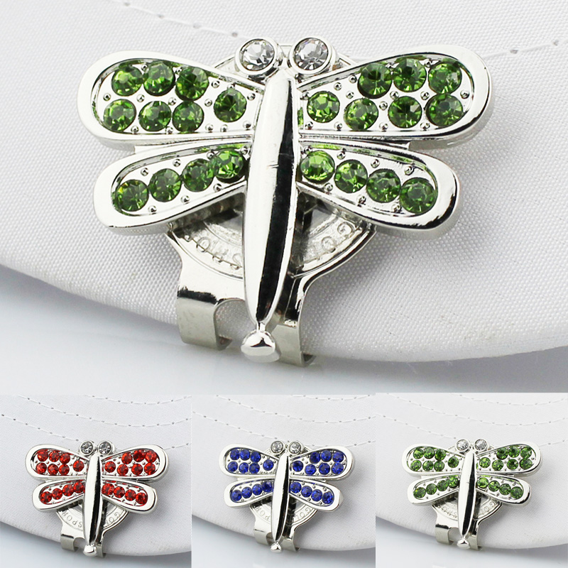 Free Shipping Beatiful Crystal Dragonfly Golf Hat Clip Golf Ball Marker With Clip 3pcs/lot