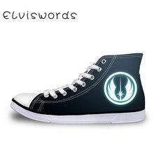 ELVISWORDS Jedi Knight Symbol Vulcanized Shoes High Top Star Sith Comfortable Wa