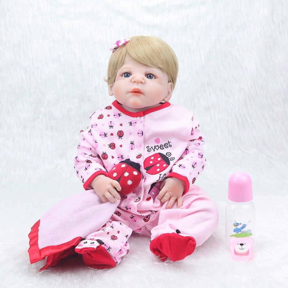 22 inch del bambino del bambino risurrezione del silicone bionda occhi azzurri del bambino regalo di compleanno bambola cute del bambino coccinella set-in Bambole da Giocattoli e hobby su  Gruppo 1